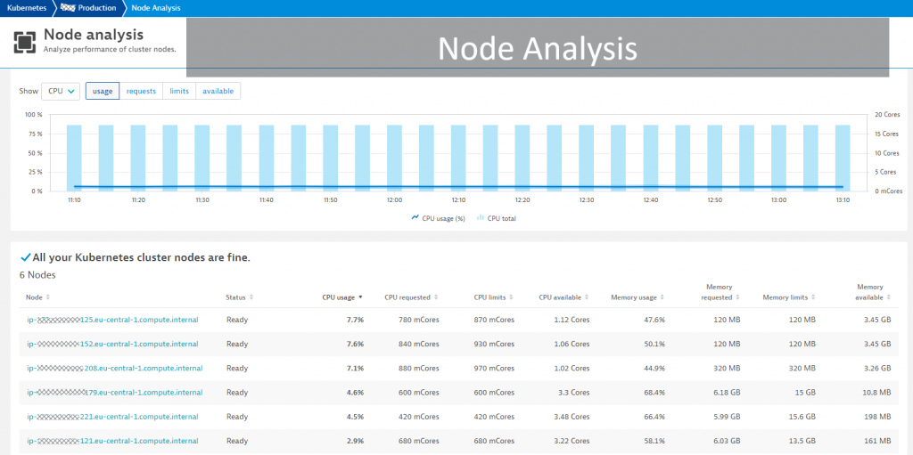 The node analysis view makes it easy to spot deployment imbalances as well as misconfigured and unhealthy nodes