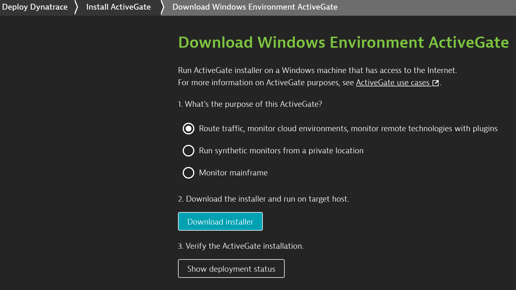 Install the Environment ActiveGate
