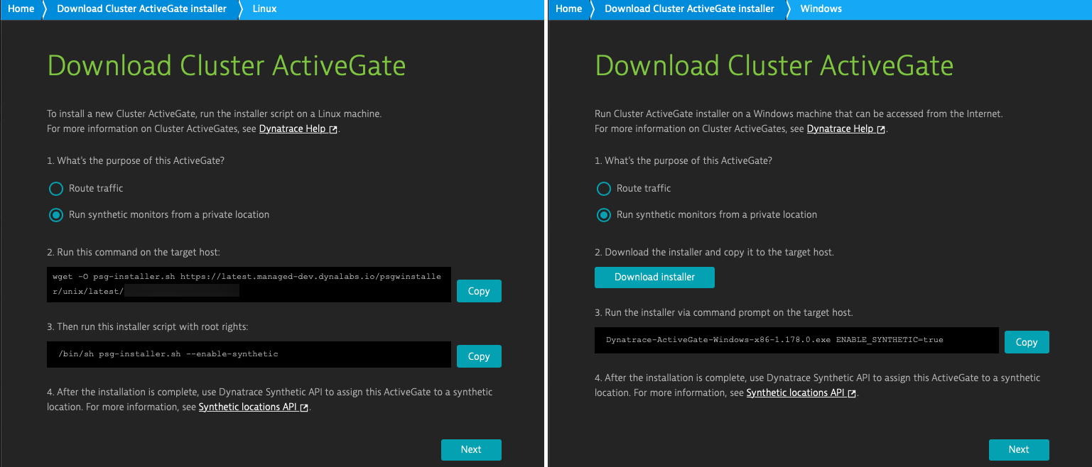 Synthetic monitoring can now be based on Cluster ActiveGates for Dynatrace Managed for both Windows- and Linux-based ActiveGate installations.