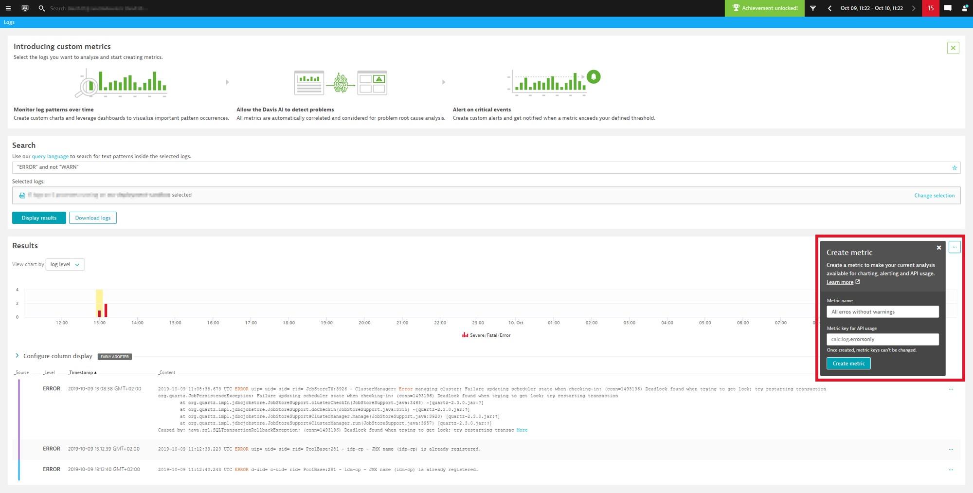 Create your new custom log metric
