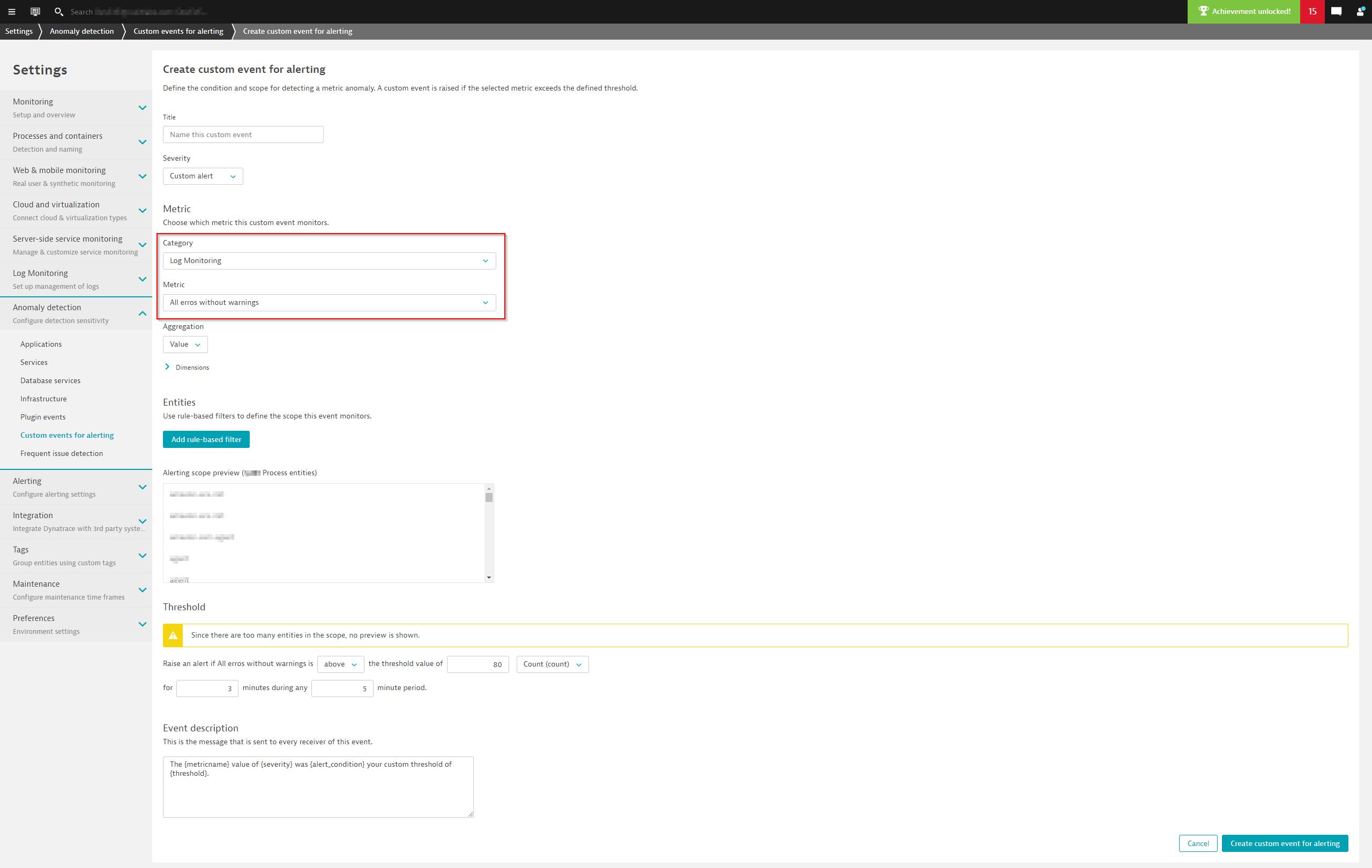 Coming soon--create a custom alert based on a custom log metric