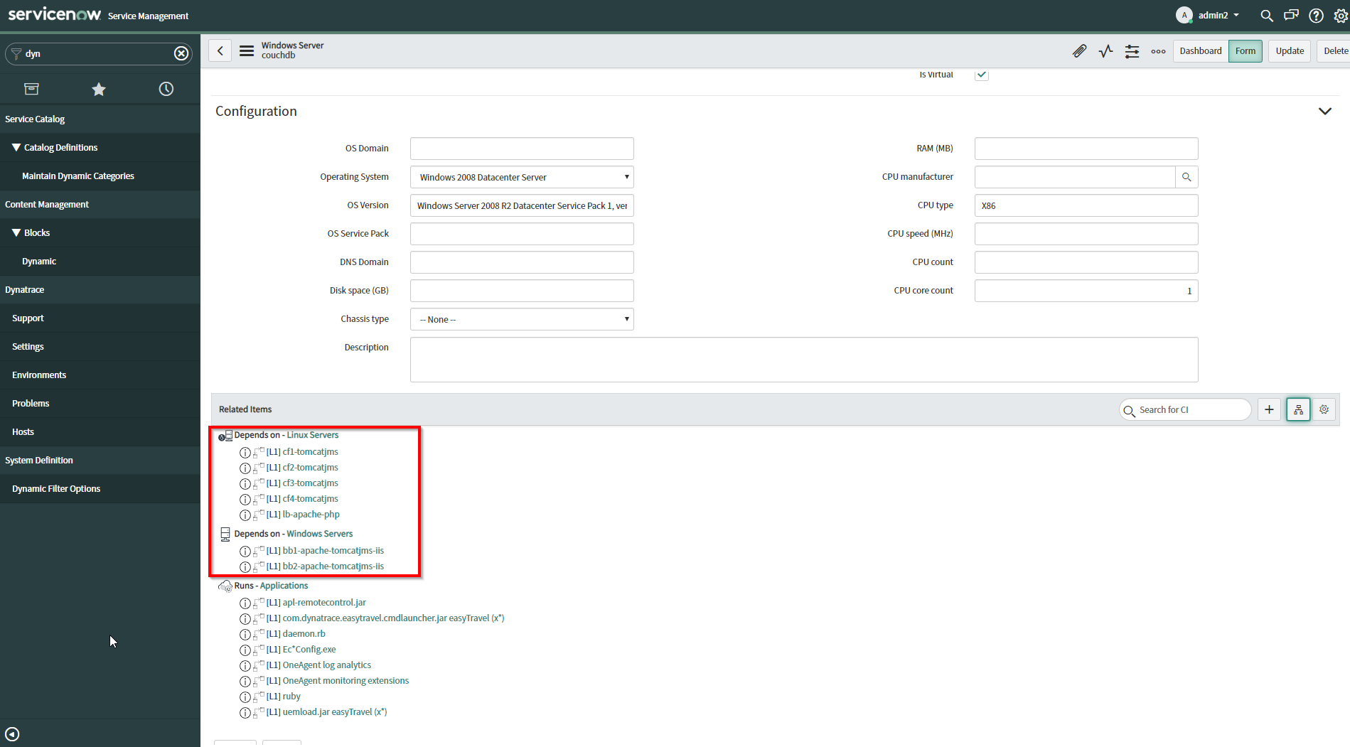 Smartscape host communication relationship shown in ServiceNow