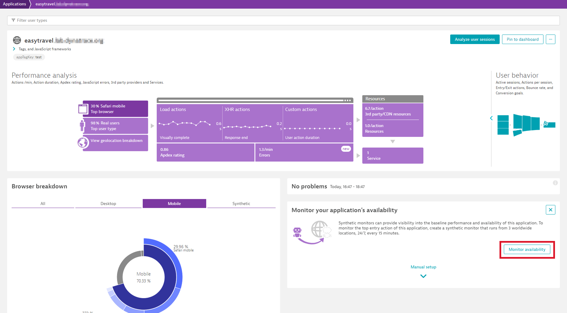 Begin monitoring application availability from the application overview page