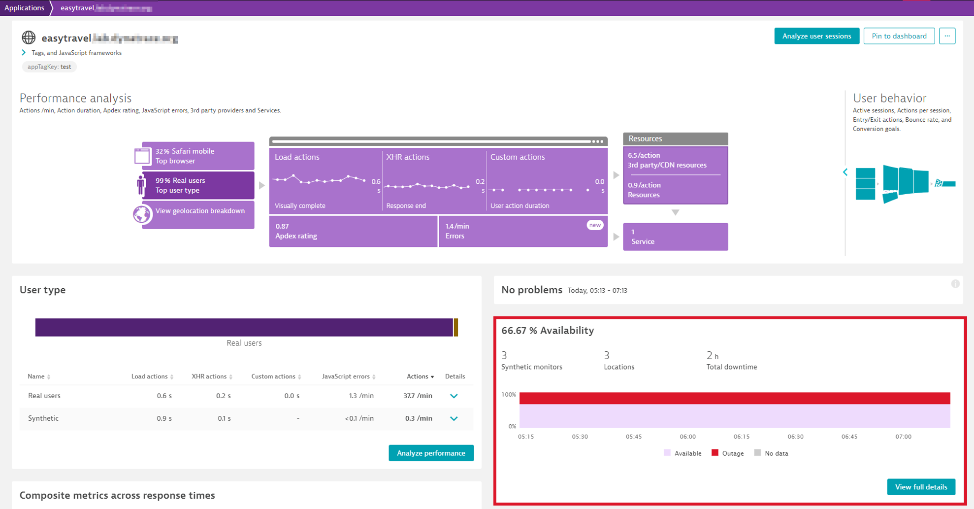 Application overview page with automatically configured synthetic monitors