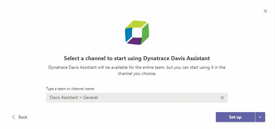 Select a Teams channel to set up for interacting with Davis Assistant