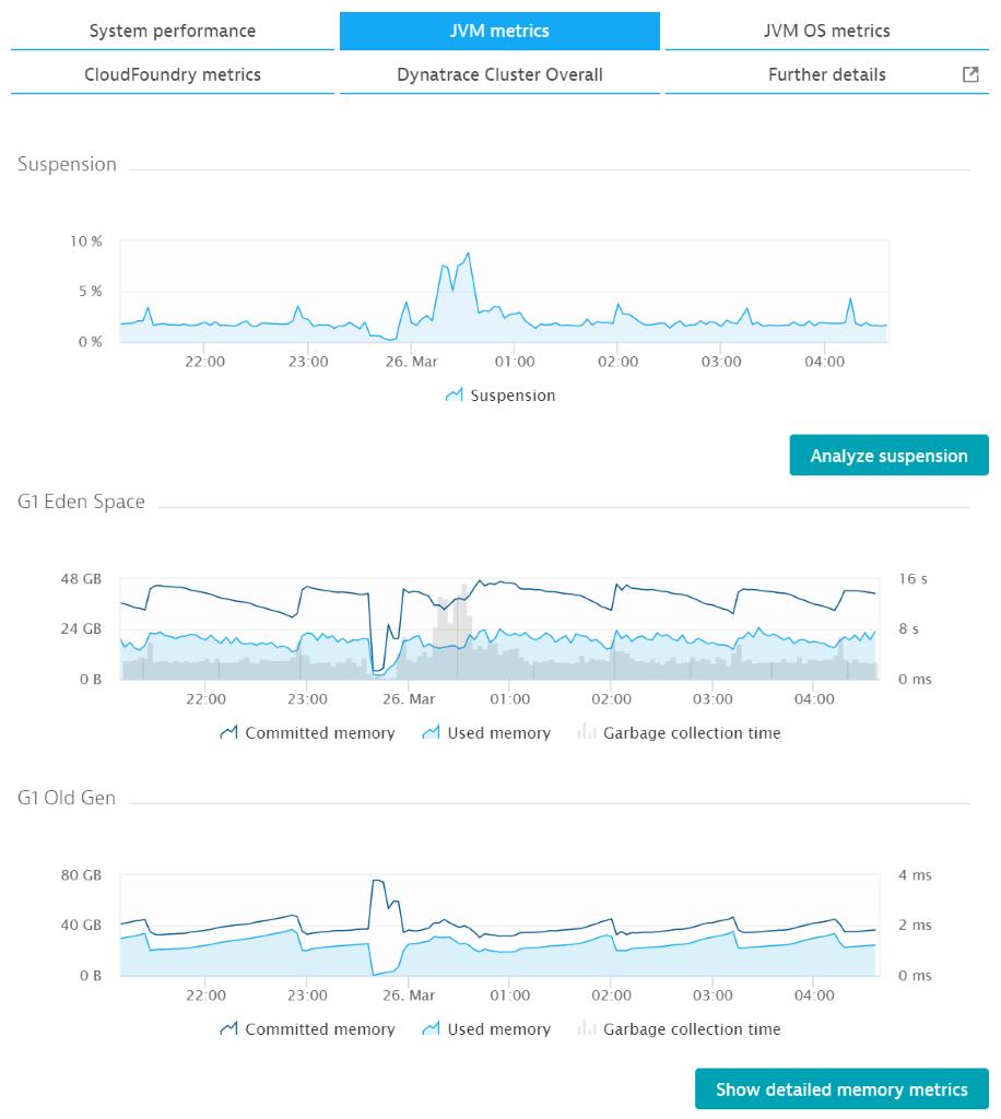 JVM metrics tab