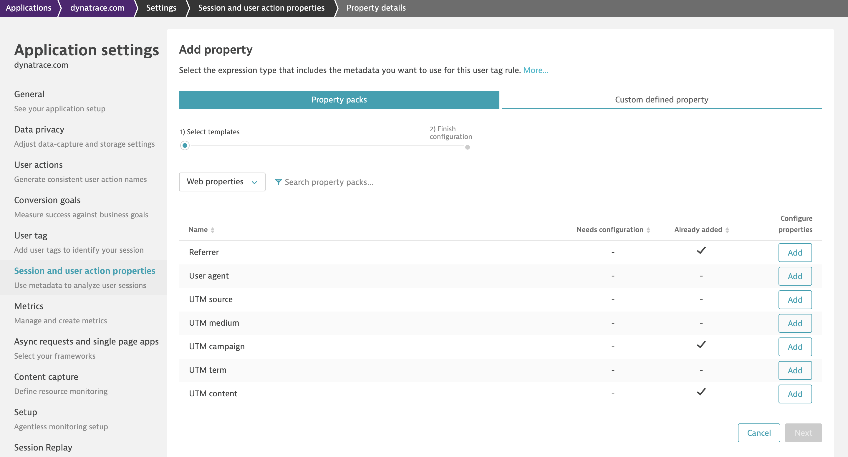 Choose your desired properties in your session and action properties application settings.