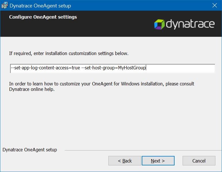 UI-based installer for OneAgent for Windows