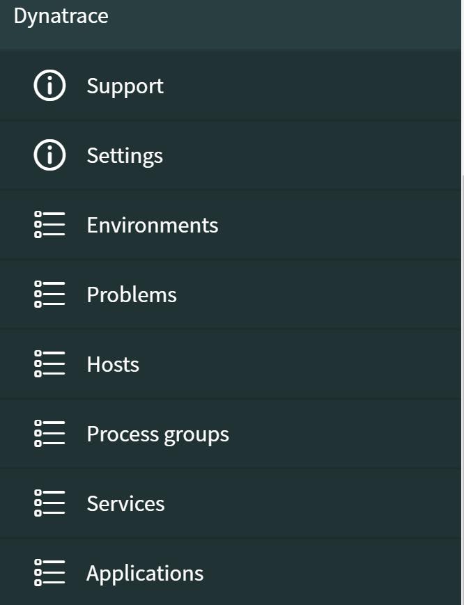 Dynatrace menu in ServiceNow
