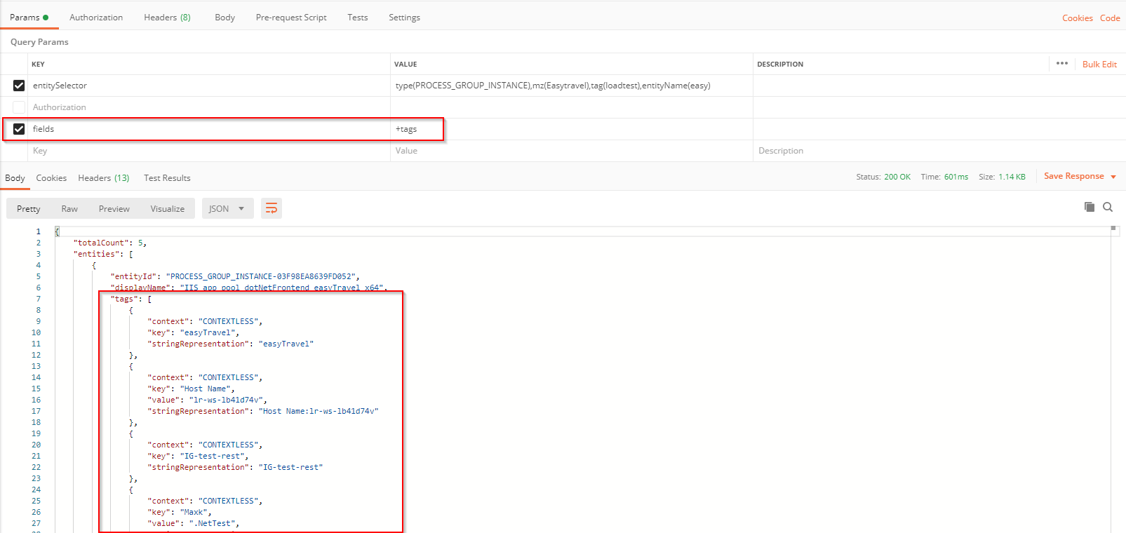 Entity instance results modified with the fields parameter