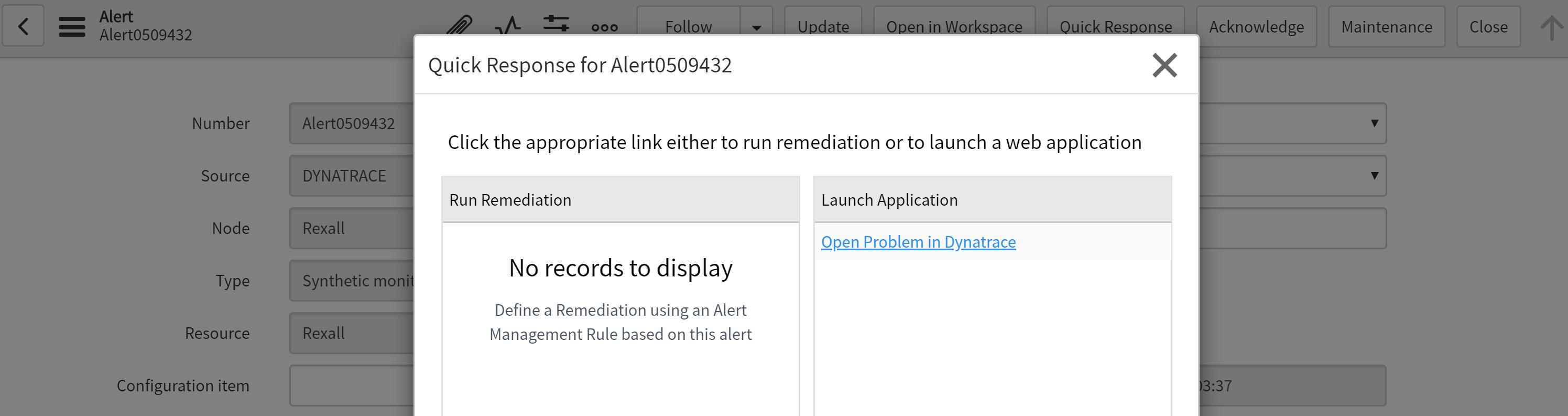 Open Dynatrace problem from ServiceNow alert