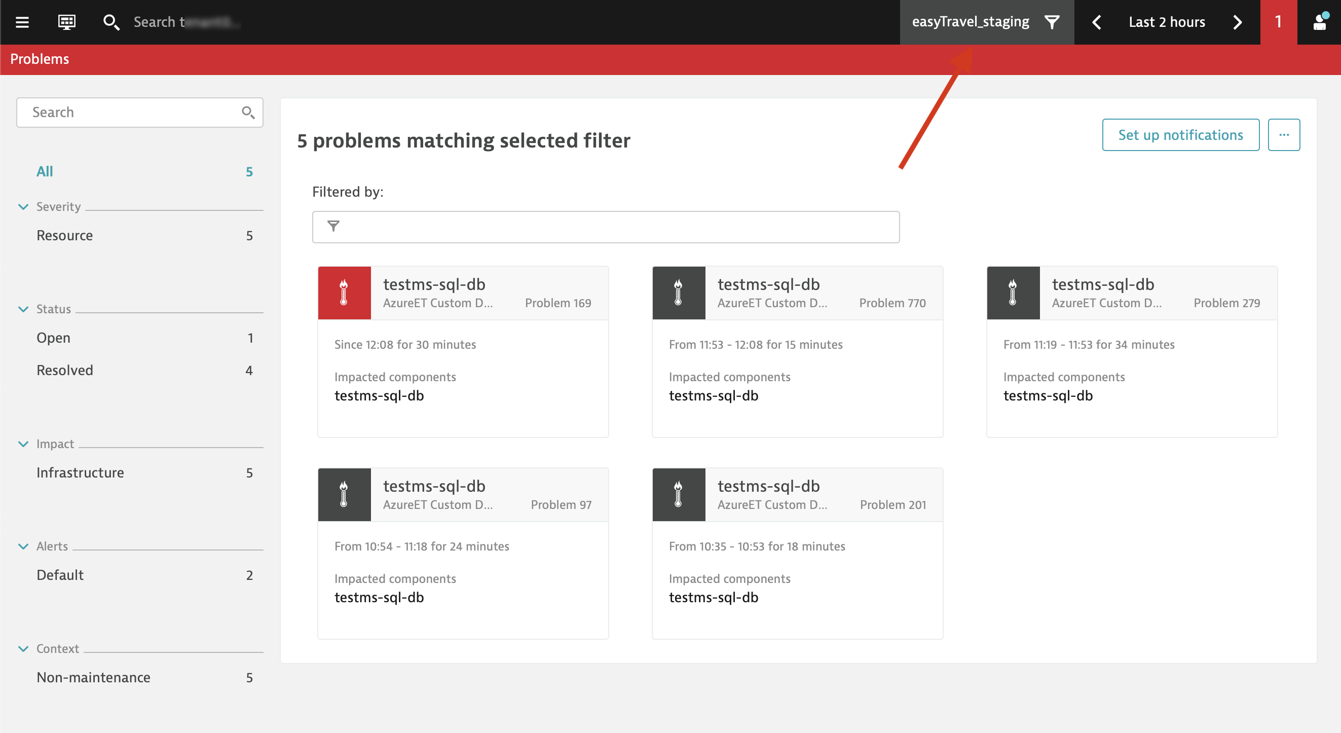 Problem feed filtered by Azure tags-based management zone