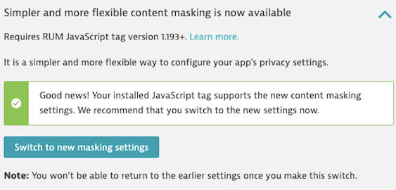Switch for new masking presets after validating RUM JavaScript tag version