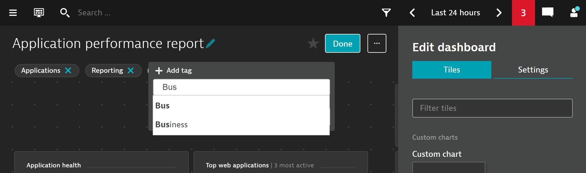 Add a tag when editing your dashboard