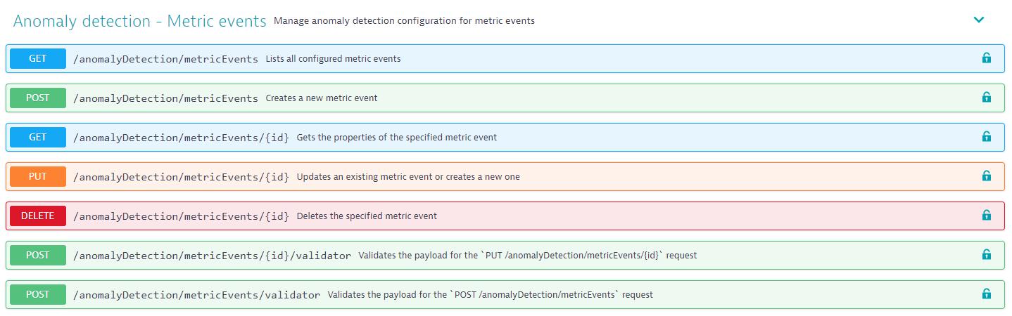Anomaly detection (metrics) API endpoints