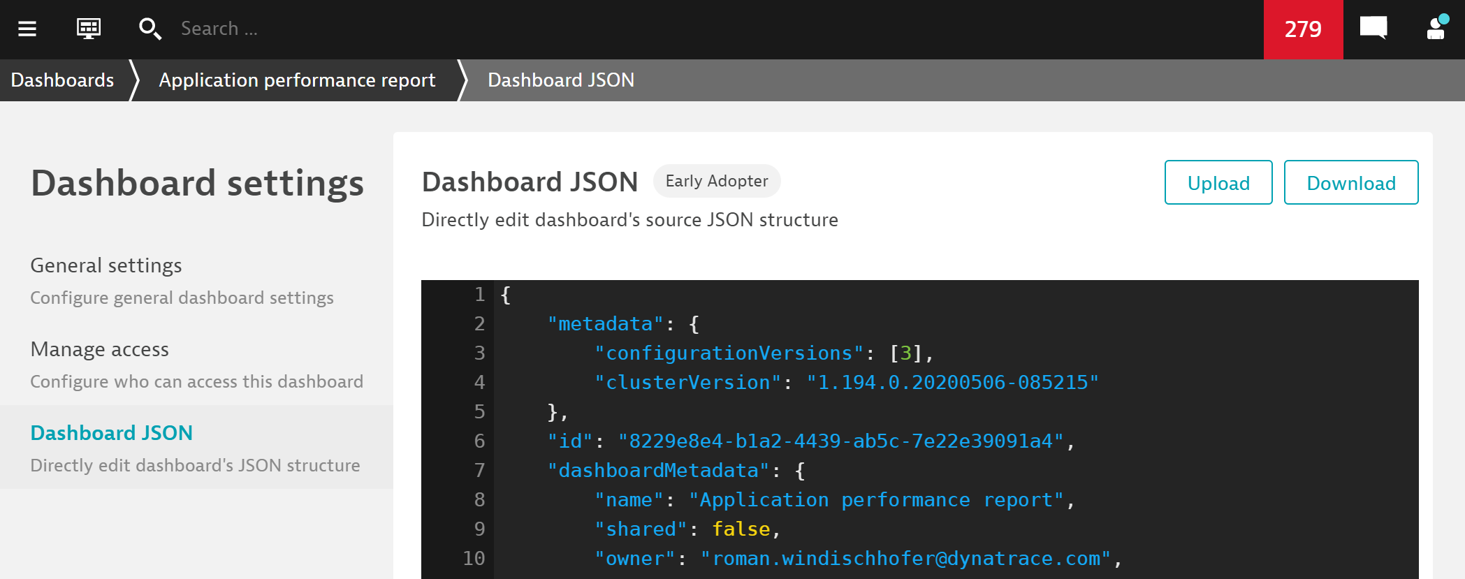 Dashboard JSON editor in advanced settings