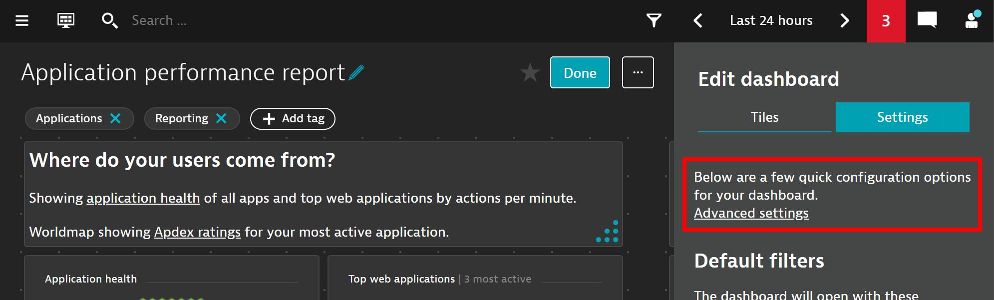 How to navigate to dashboard advanced settings