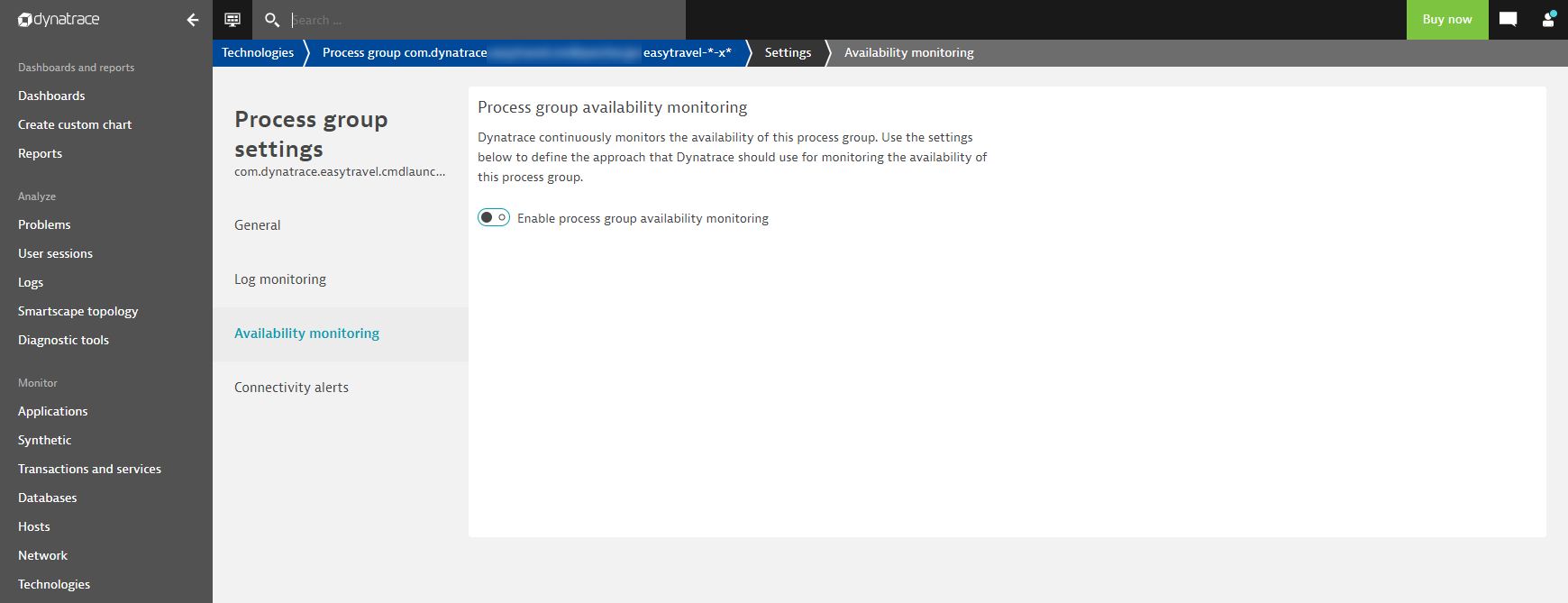 Process group availability alerting off by default