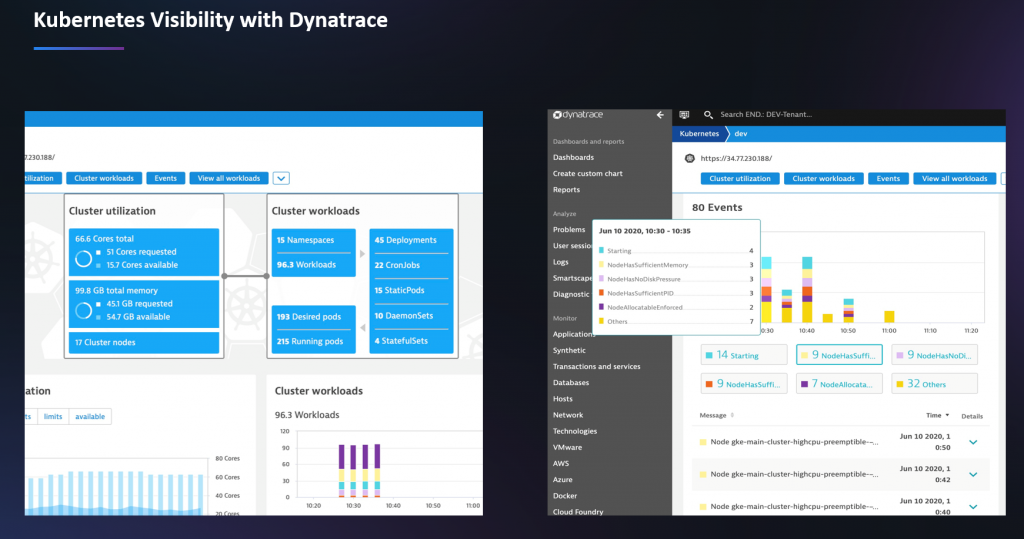 Dynatrace gives full visibility into k8s thanks to the recent improvements
