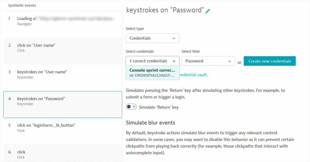 Credentials used in the Keystroke event in a browser clickpath