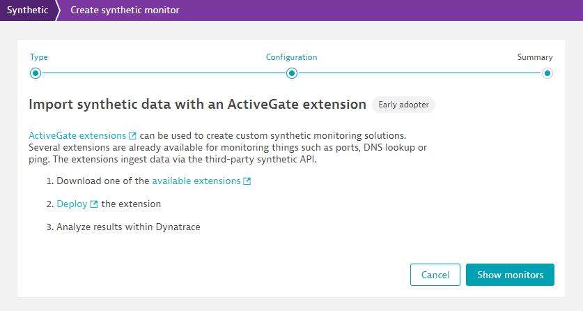 Screenshot Dynatrace synthetic monitor