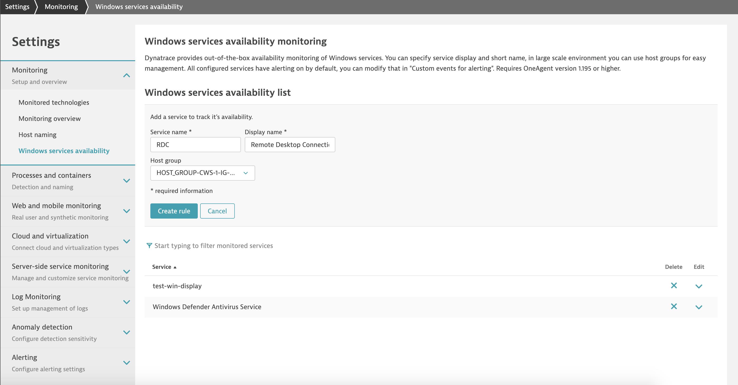 Configure Windows service availability monitoring per service