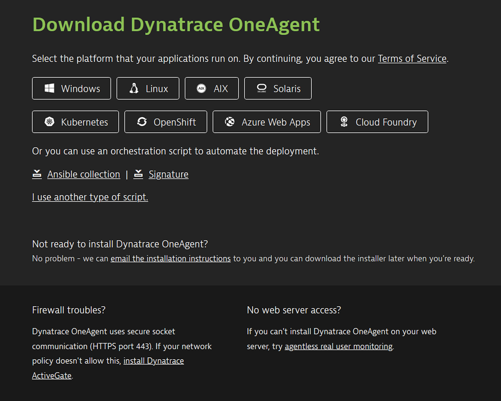 Ansible collection on the Dynatrace download page