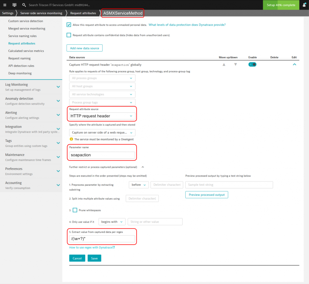 Dynatrace Request Attribute configuration that extracts the ASMX web service method name from the soapaction HTTP Header