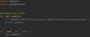 Screenshot Autodynatrace code