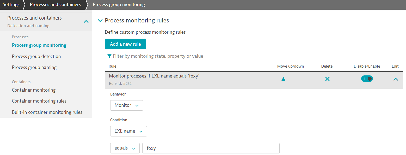 Process monitoring rule for statically linked Go application
