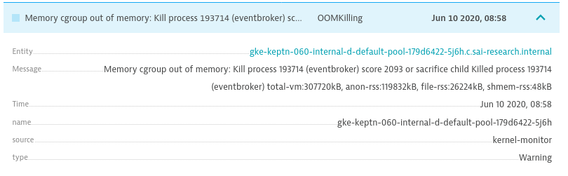 Dynatrace shows us all relevant information about k8s events such as out of memory killing