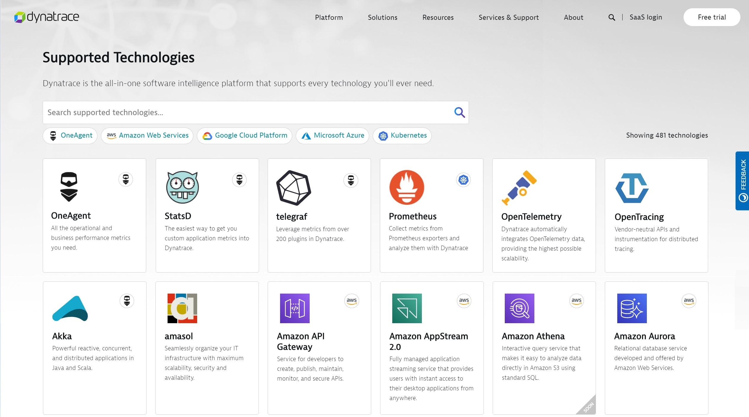 Screenshot Dynatrace Software Intelligence Hub