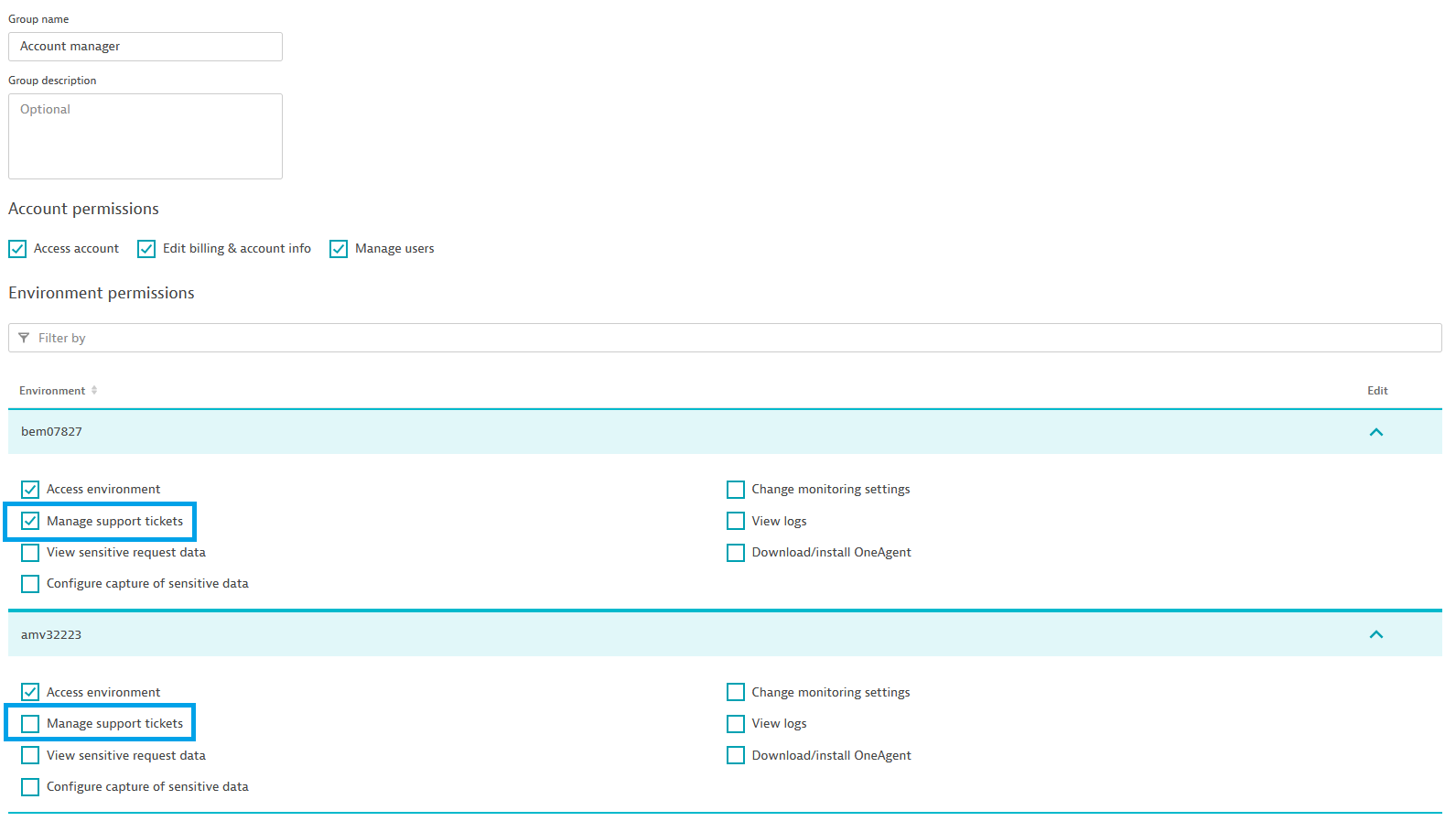 Dynatrace screenshot group management section of account settings