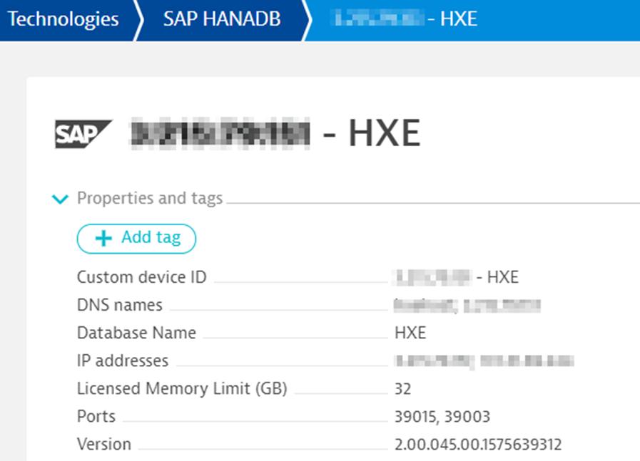 Dynatrace SAP HANA DB Device Properties