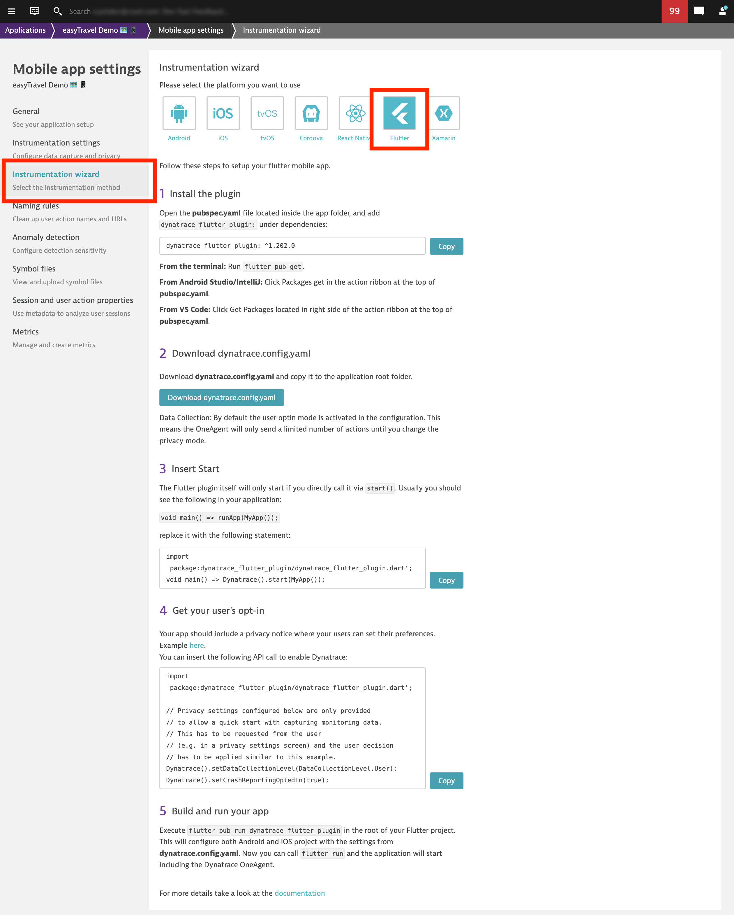 Flutter mobile app deployment platform in app settings