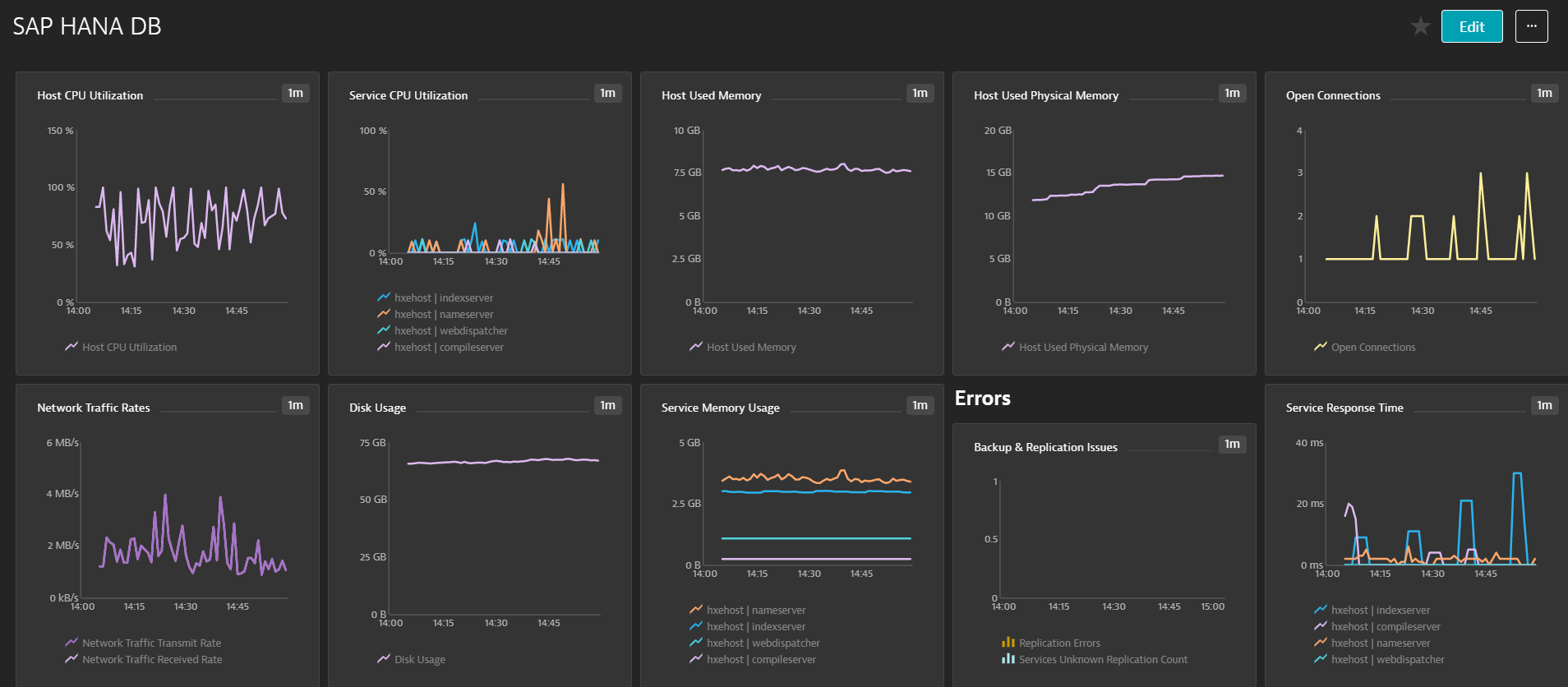 SAP HANA DB KPI Dynatrace Dashboard