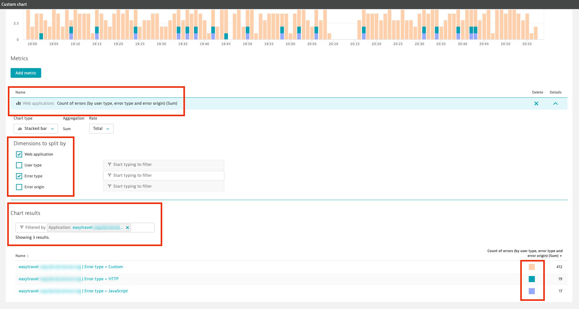 Custom chart for error count, showing metric settings
