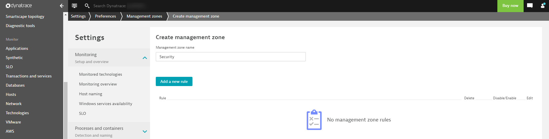 Create a management zone