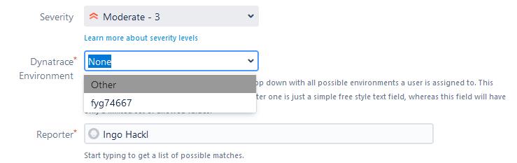 Screenshot Support ticket Dynatrace environment