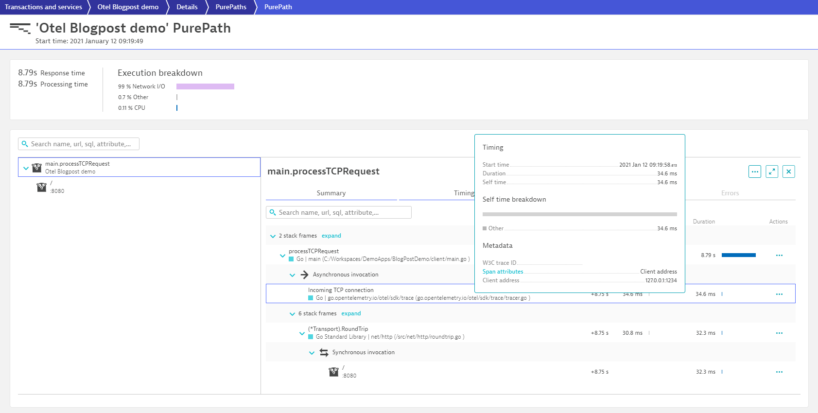 OpenTelemetry for Go spans are seamlessly integrated into PurePath 4