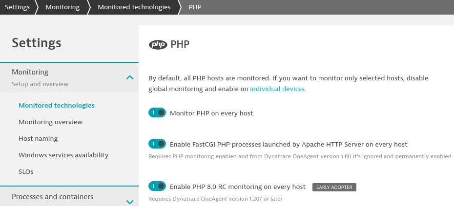 How to enable the PHP 8 Early Adopter feature
