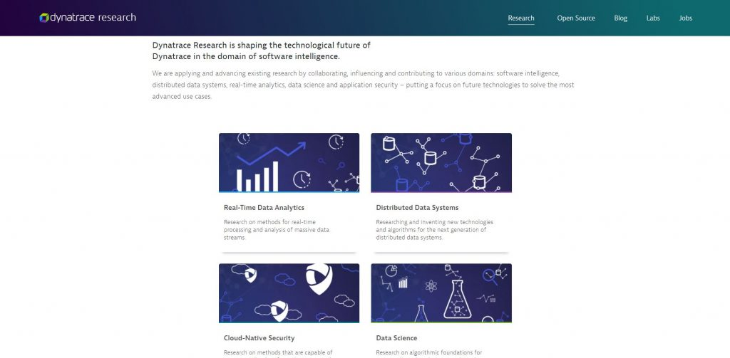 A screenshot of the Research Page on the Dynatrace Engineering Website