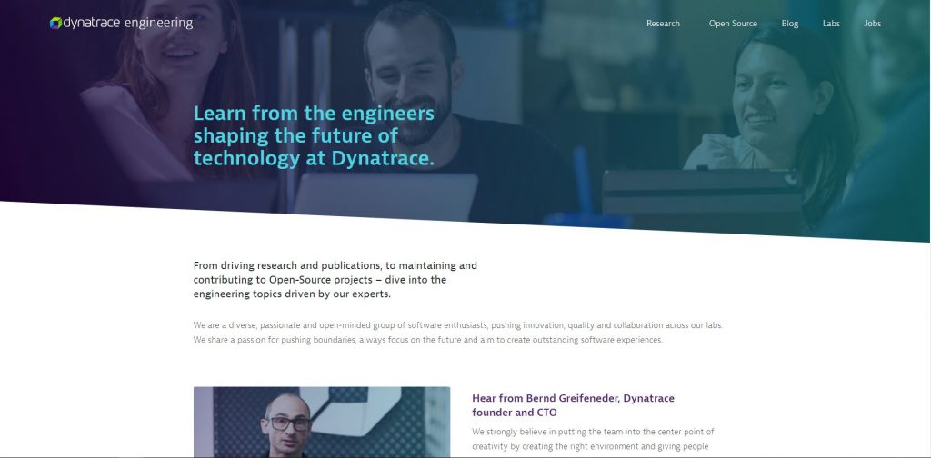 A screenshot of the home page of the Dynatrace Engineering Website
