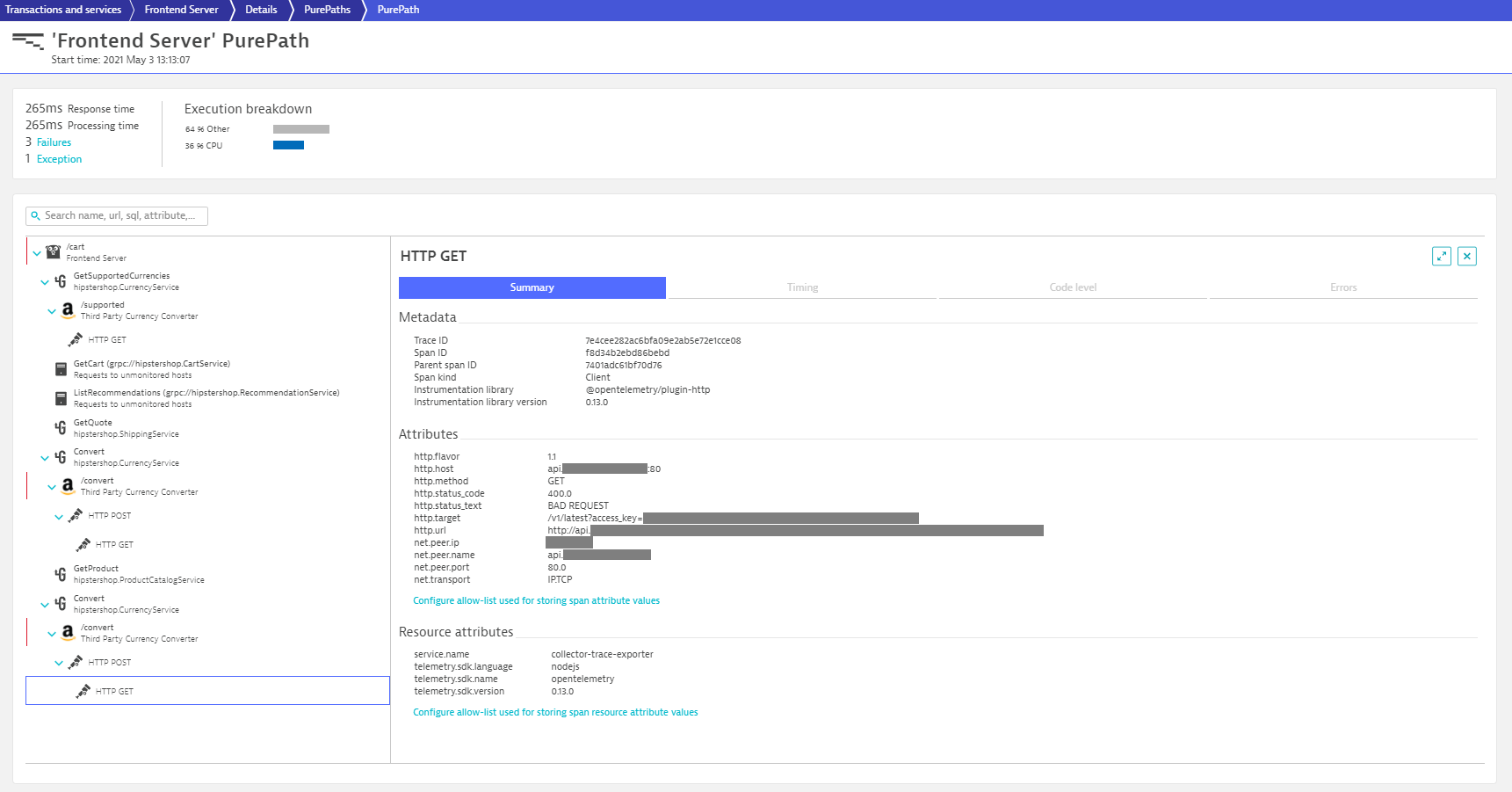 Dynatrace provides observability for ingested OpenTelemetry traces