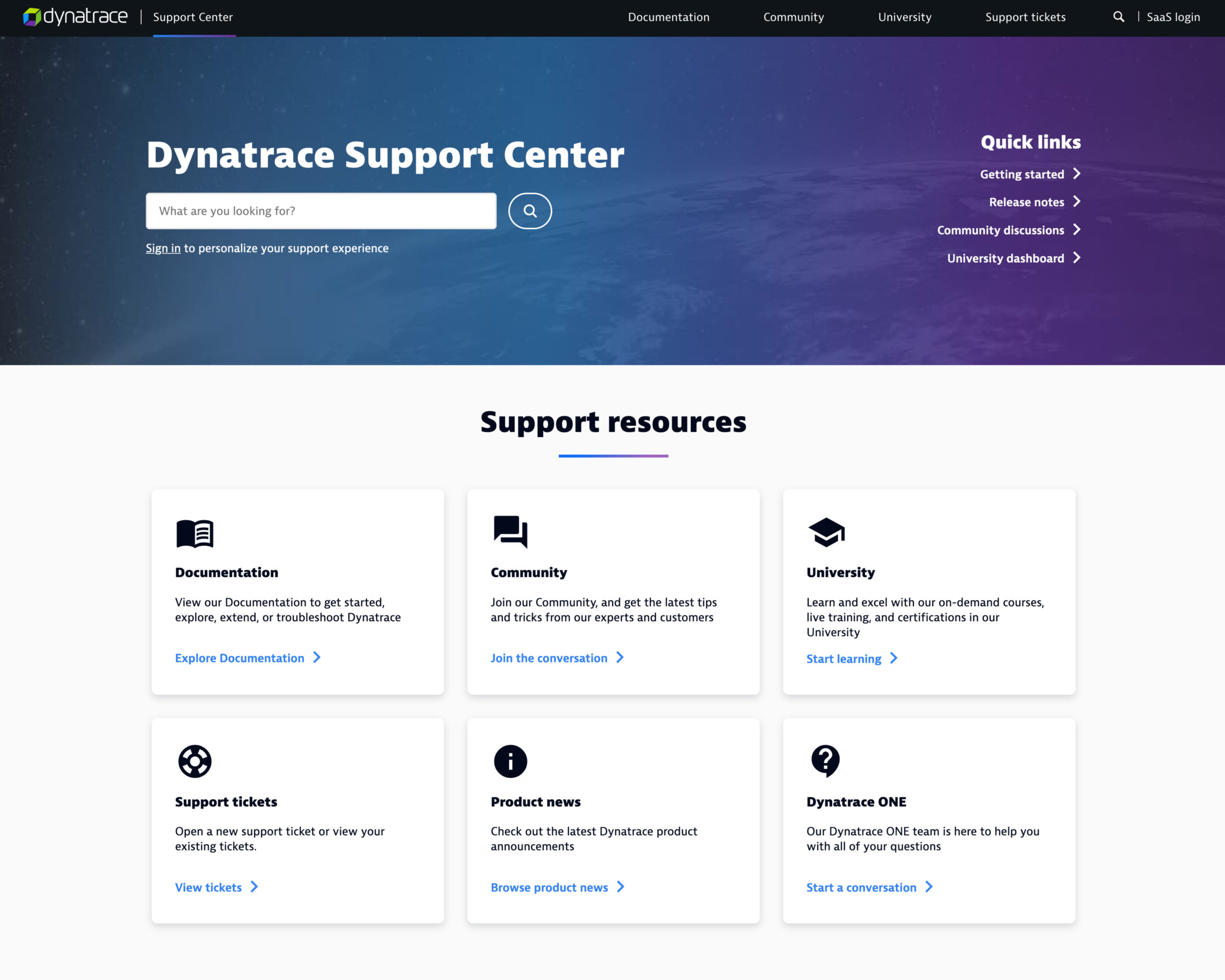Screenshot of Dynatrace's new support center