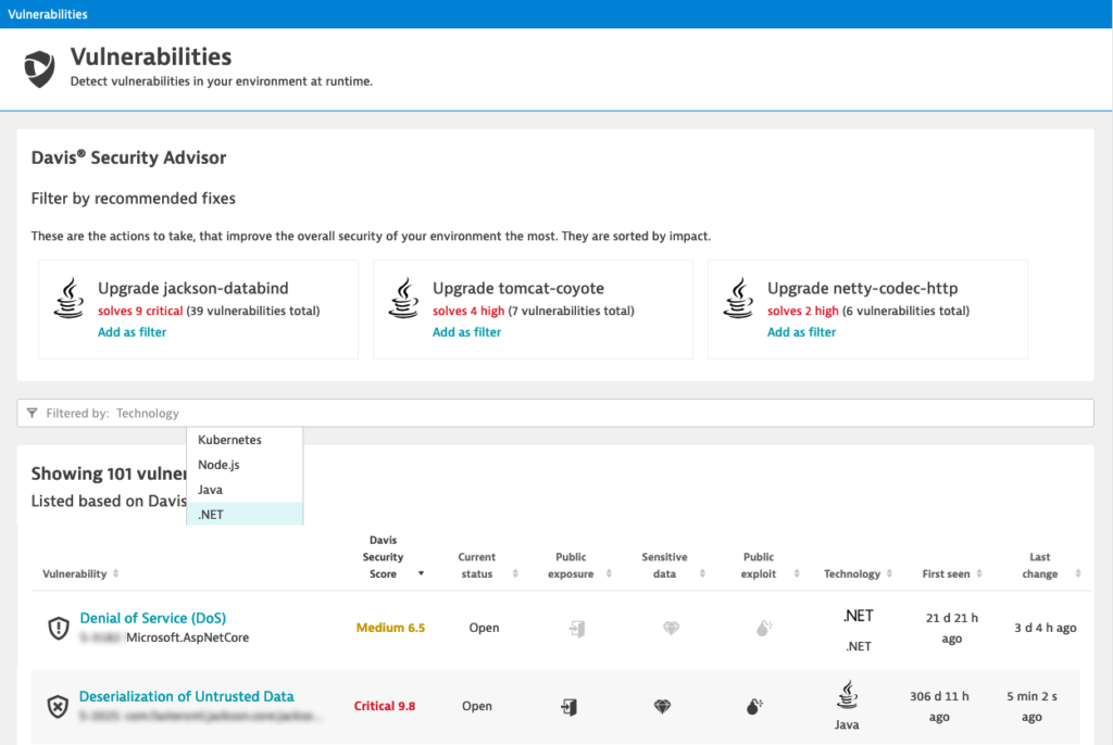 Dynatrace Application Security extends automatic vulnerability management to .NET