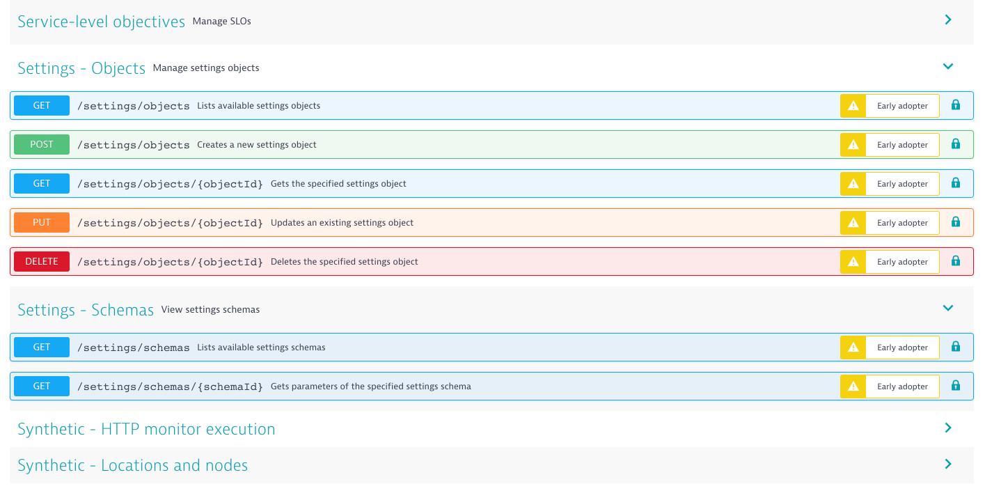 Dynatrace screenshot API endpoints