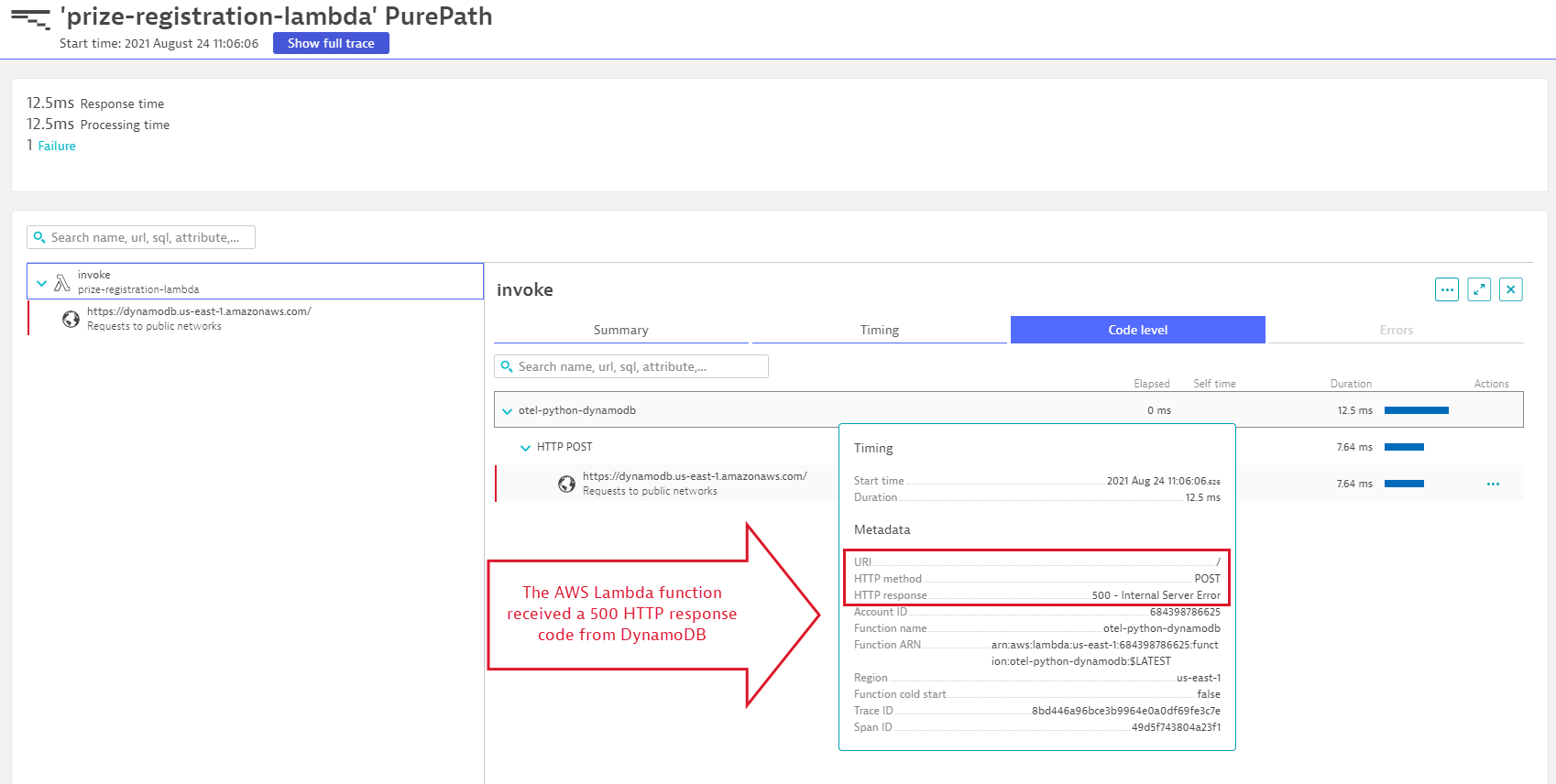 Screenshot Dynatrace issue code level