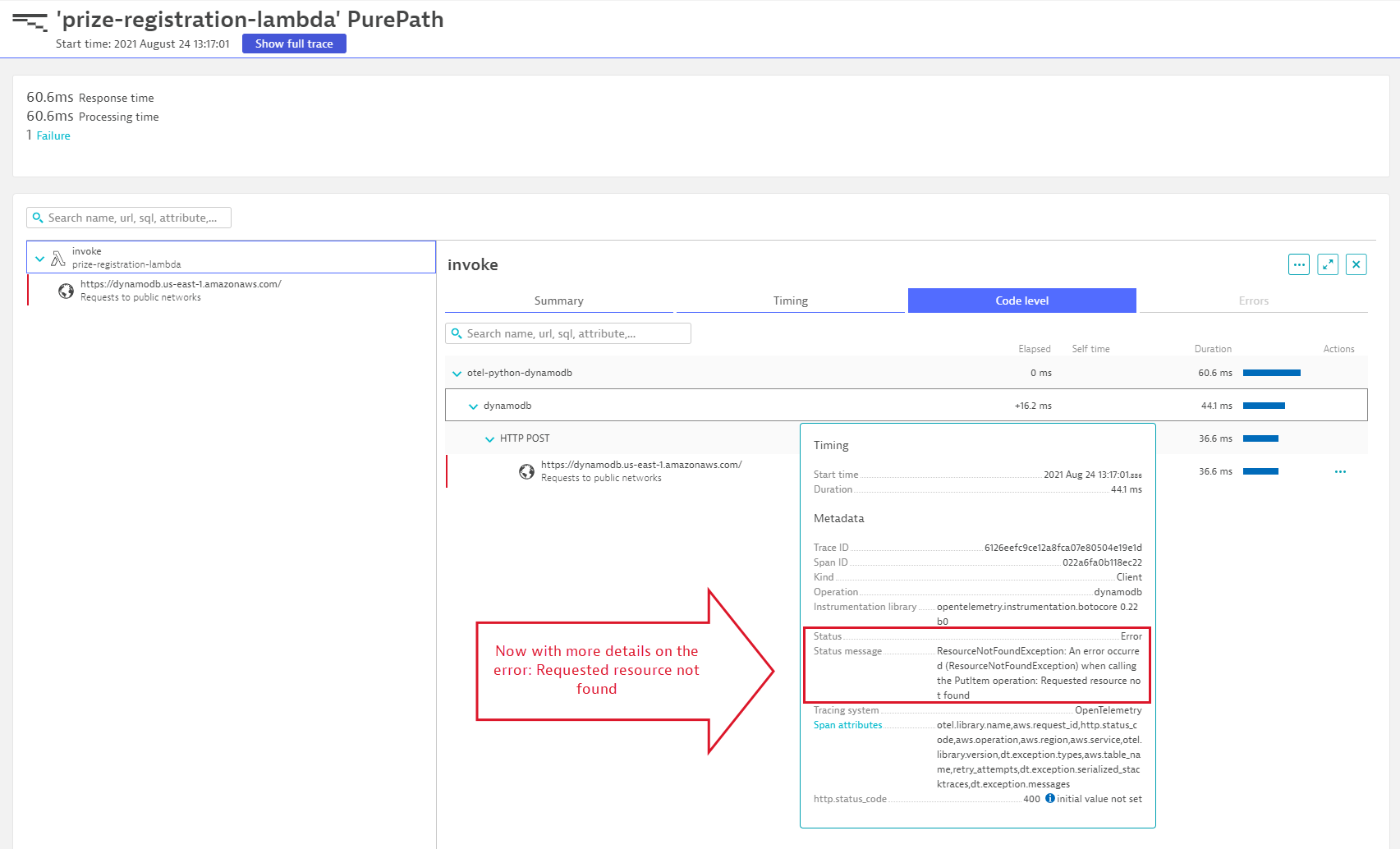 Screenshot Dynatrace AWS Distro for OpenTelemetry