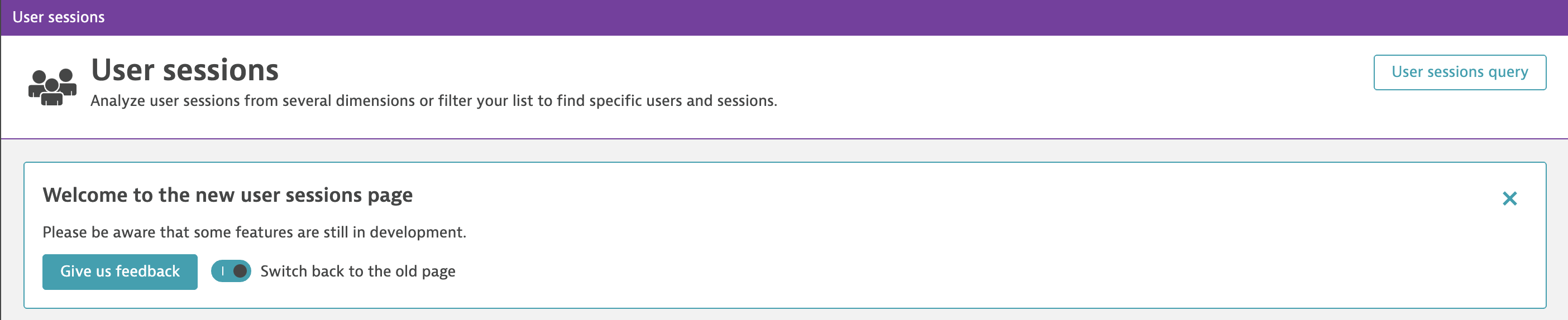Opt out of the new User sessions view
